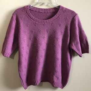 Crew Neck Short Sleeve Kint Sweater Top